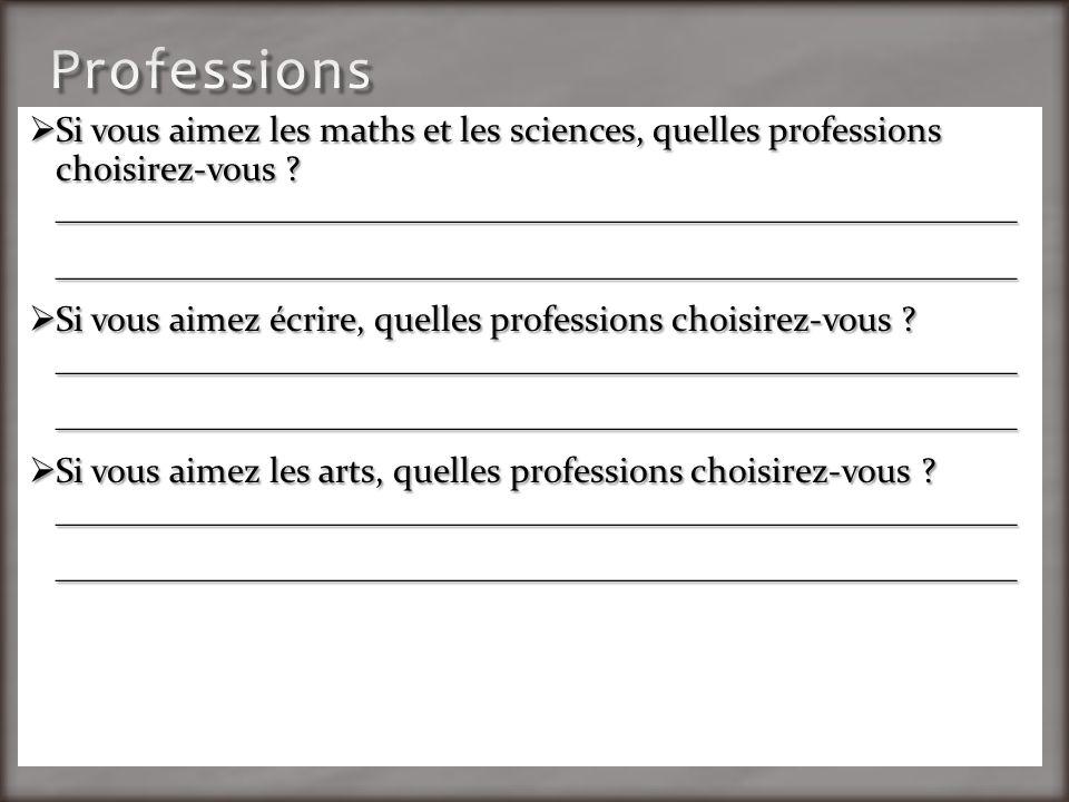 Si vous aimez les maths et les sciences, quelles professions choisirez-vous .