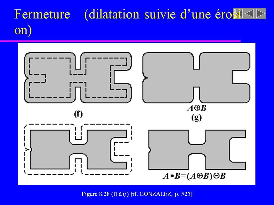 Fermeture (dilatation + érosion) u Lissage des contours des formes u Remplissage des trous et vides