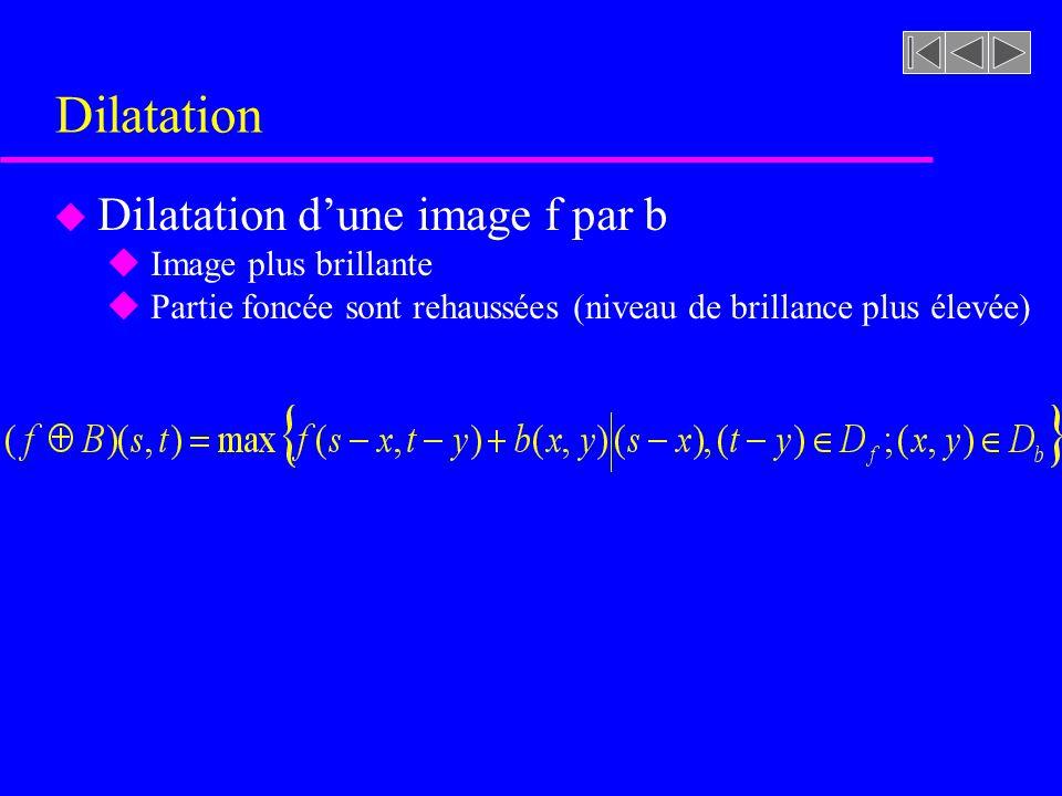 Opérations morphologiques sur les images u Dilatation u Érosion u Ouverture u Fermeture