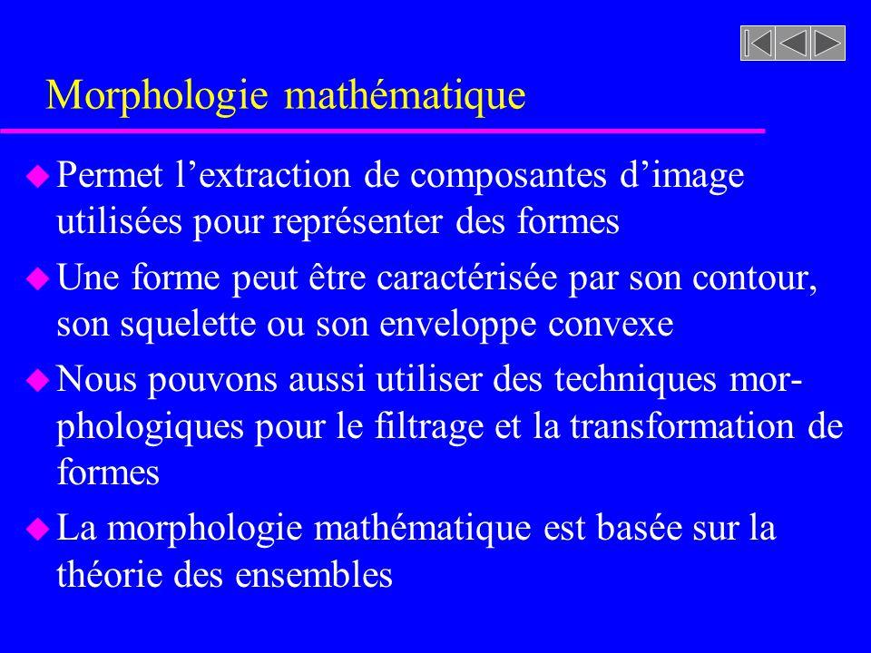 Morphologie mathématique u Permet lextraction de composantes dimage utilisées pour représenter des formes u Une forme peut être caractérisée par son contour, son squelette ou son enveloppe convexe u Nous pouvons aussi utiliser des techniques mor- phologiques pour le filtrage et la transformation de formes u La morphologie mathématique est basée sur la théorie des ensembles