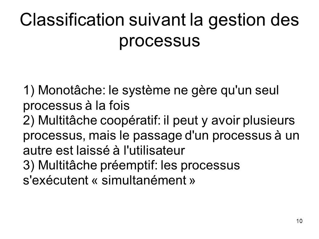 10 Classification suivant la gestion des processus Monotâche: le système ne gère qu un seul processus à la fois Multitâche coopératif: il peut y avoir plusieurs processus, mais le passage d un processus à un autre est laissé à l utilisateur Multitâche préemptif: les processus s exécutent « simultanément »