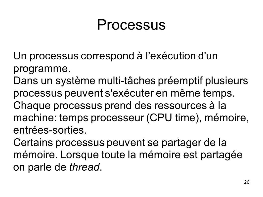 26 Processus Un processus correspond à l exécution d un programme.