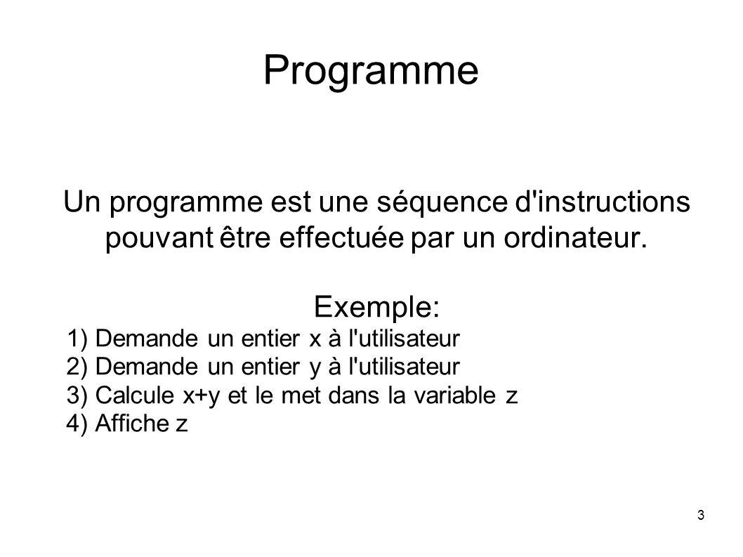 3 Programme Un programme est une séquence d instructions pouvant être effectuée par un ordinateur.