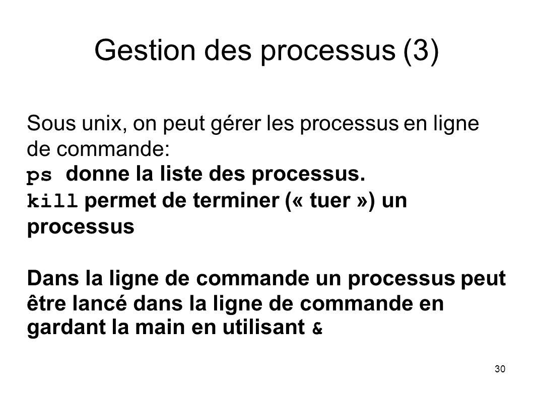 30 Gestion des processus (3) Sous unix, on peut gérer les processus en ligne de commande: ps donne la liste des processus.