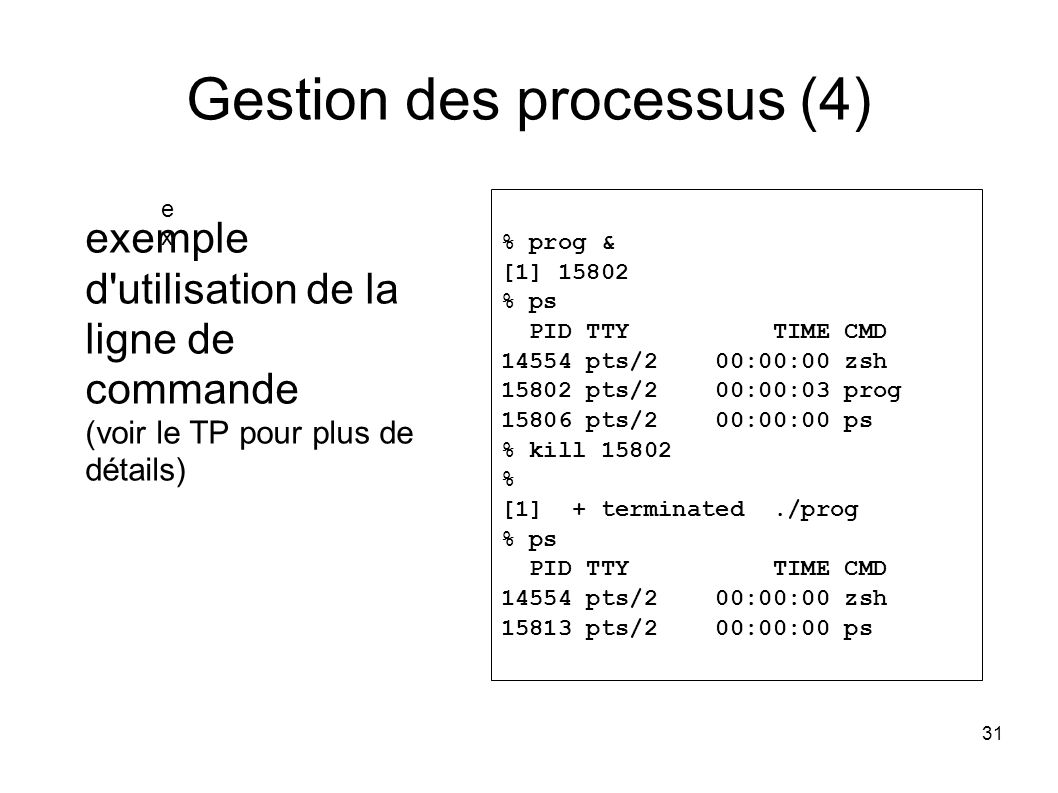 31 Gestion des processus (4) % prog & [1] 15802 % ps PID TTY TIME CMD 14554 pts/2 00:00:00 zsh 15802 pts/2 00:00:03 prog 15806 pts/2 00:00:00 ps % kil