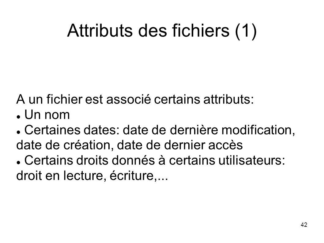 42 Attributs des fichiers (1) A un fichier est associé certains attributs: Un nom Certaines dates: date de dernière modification, date de création, date de dernier accès Certains droits donnés à certains utilisateurs: droit en lecture, écriture,...
