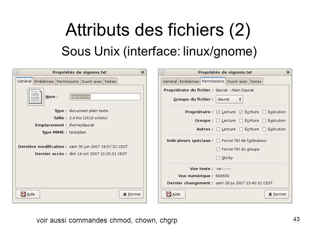 43 Attributs des fichiers (2) Sous Unix (interface: linux/gnome) voir aussi commandes chmod, chown, chgrp