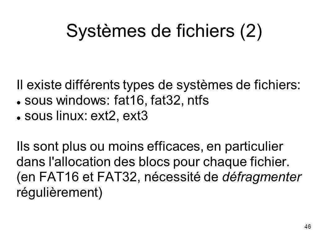 46 Systèmes de fichiers (2) Il existe différents types de systèmes de fichiers: sous windows: fat16, fat32, ntfs sous linux: ext2, ext3 Ils sont plus ou moins efficaces, en particulier dans l allocation des blocs pour chaque fichier.