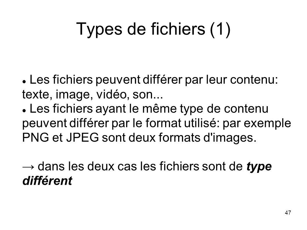 47 Types de fichiers (1) Les fichiers peuvent différer par leur contenu: texte, image, vidéo, son...