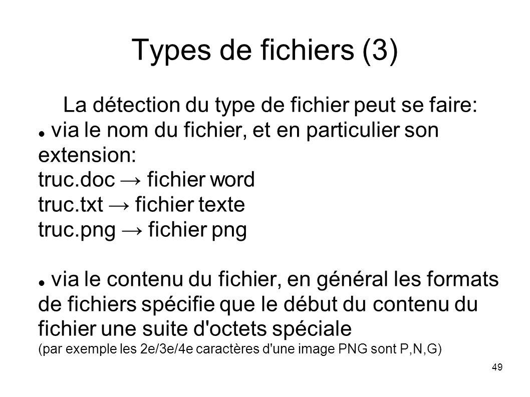 49 Types de fichiers (3) La détection du type de fichier peut se faire: via le nom du fichier, et en particulier son extension: truc.doc fichier word truc.txt fichier texte truc.png fichier png via le contenu du fichier, en général les formats de fichiers spécifie que le début du contenu du fichier une suite d octets spéciale (par exemple les 2e/3e/4e caractères d une image PNG sont P,N,G)
