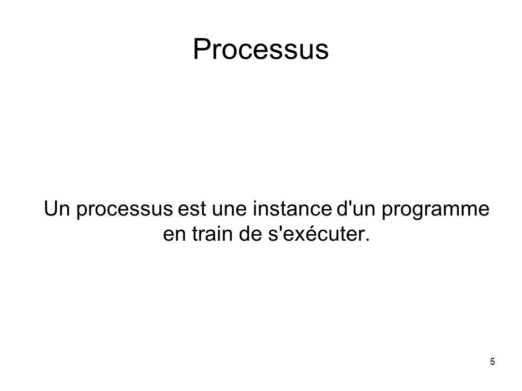 5 Processus Un processus est une instance d un programme en train de s exécuter.
