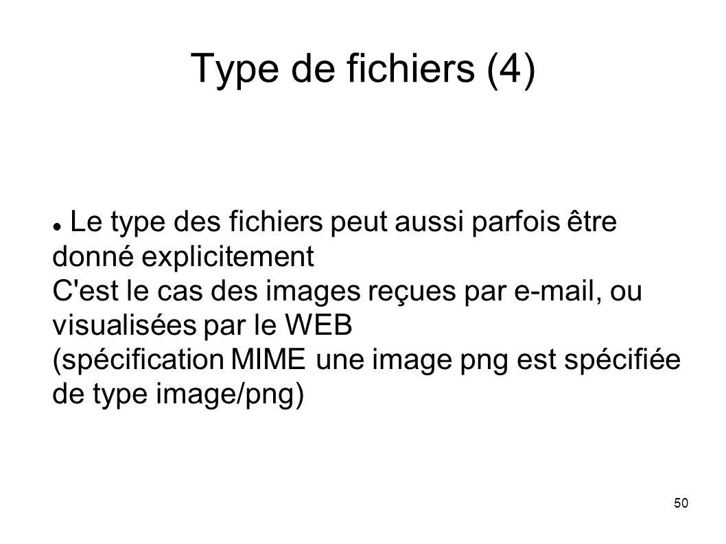 50 Type de fichiers (4) Le type des fichiers peut aussi parfois être donné explicitement C est le cas des images reçues par e-mail, ou visualisées par le WEB (spécification MIME une image png est spécifiée de type image/png)