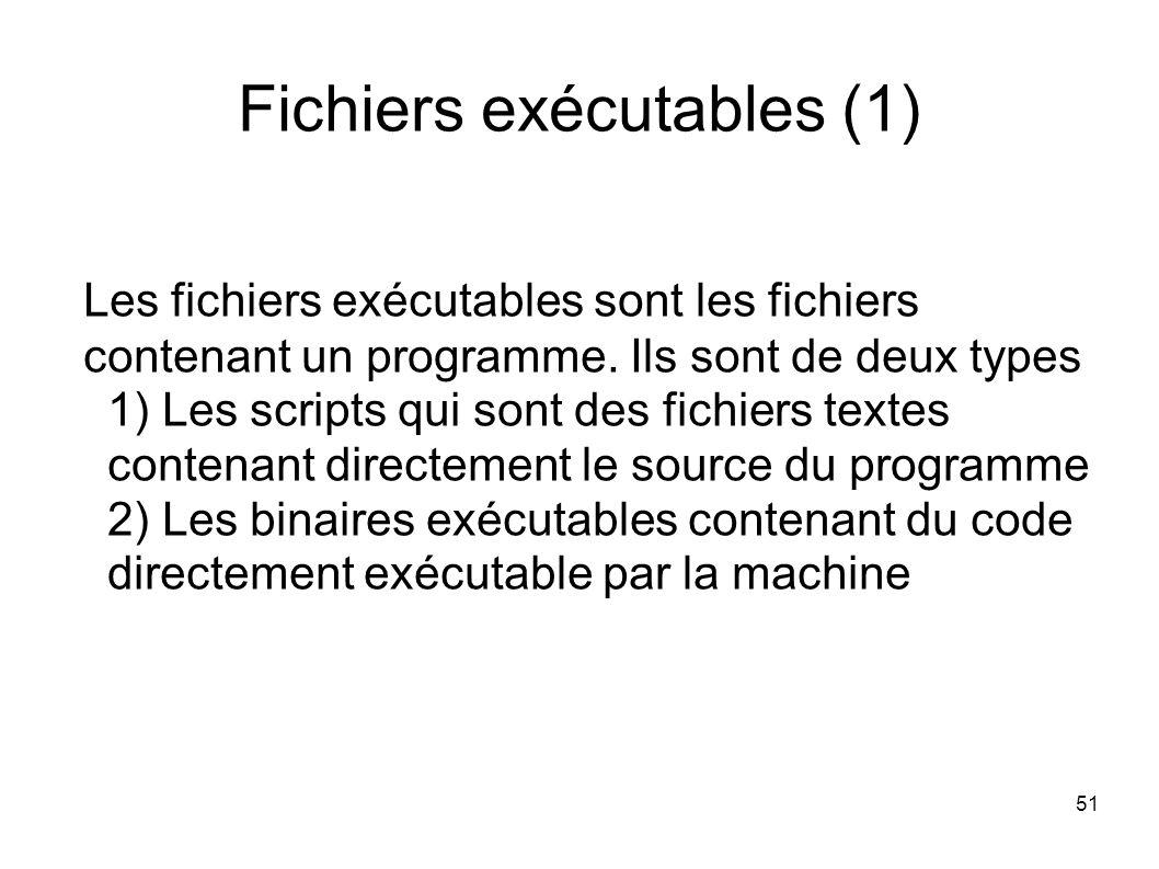 51 Fichiers exécutables (1) Les fichiers exécutables sont les fichiers contenant un programme.