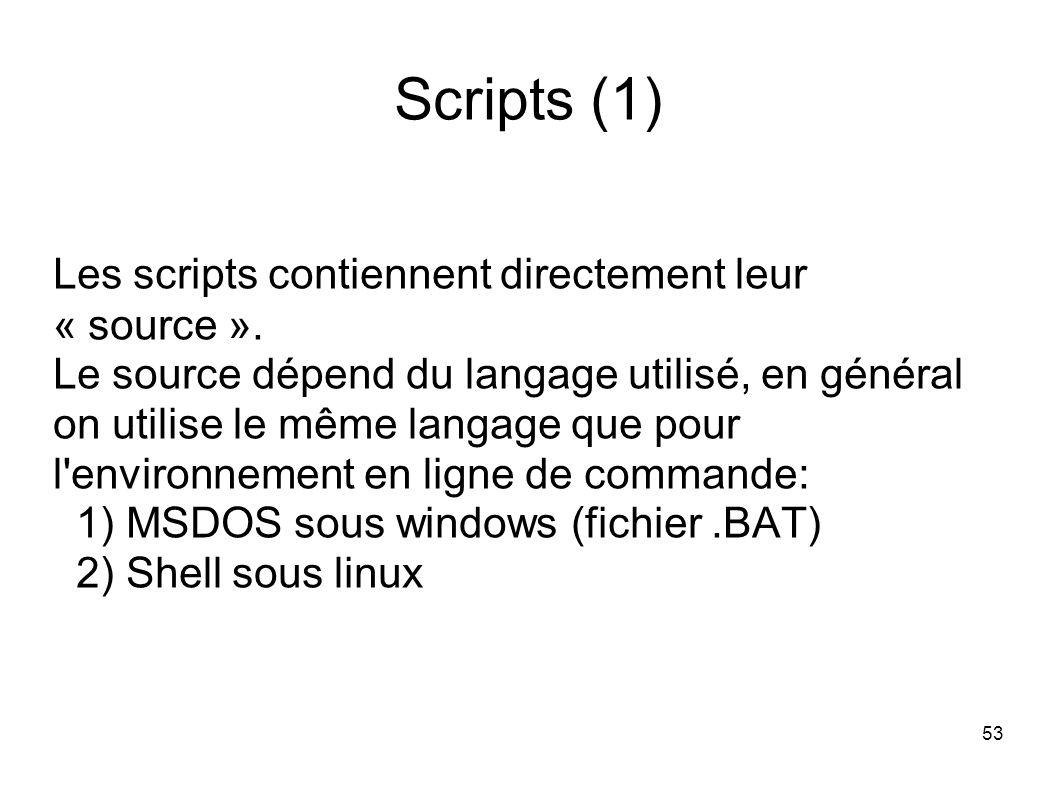 53 Scripts (1) Les scripts contiennent directement leur « source ».