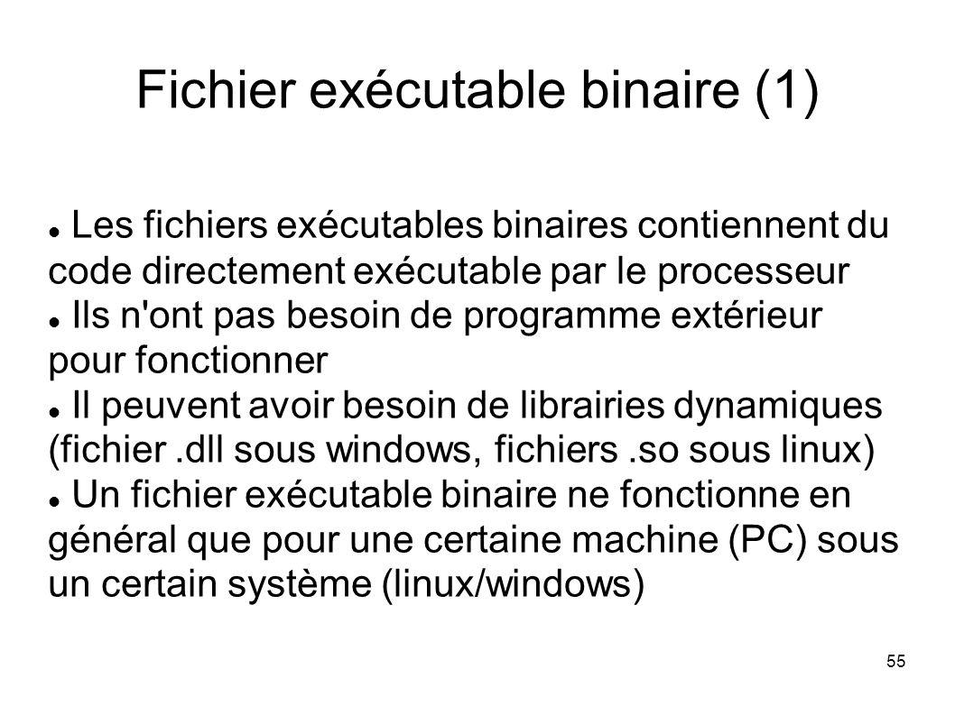 55 Fichier exécutable binaire (1) Les fichiers exécutables binaires contiennent du code directement exécutable par le processeur Ils n ont pas besoin de programme extérieur pour fonctionner Il peuvent avoir besoin de librairies dynamiques (fichier.dll sous windows, fichiers.so sous linux) Un fichier exécutable binaire ne fonctionne en général que pour une certaine machine (PC) sous un certain système (linux/windows)
