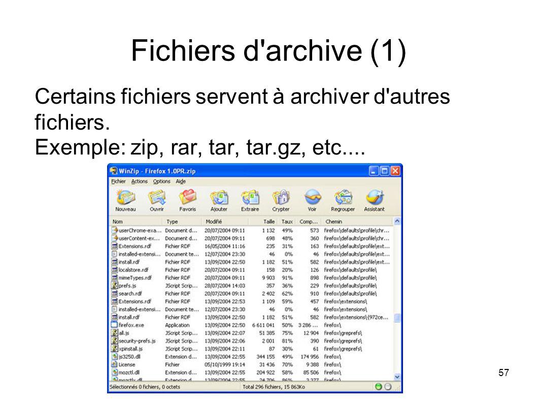 57 Fichiers d archive (1) Certains fichiers servent à archiver d autres fichiers.