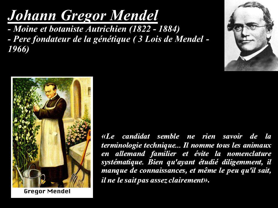 Johann Gregor Mendel - Moine et botaniste Autrichien (1822 - 1884) - Pere fondateur de la génétique ( 3 Lois de Mendel - 1966) « Le candidat semble ne