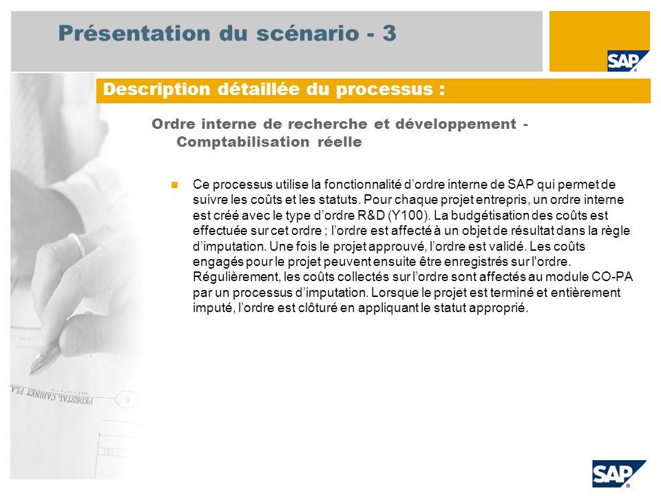 Présentation du scénario - 3 Ordre interne de recherche et développement - Comptabilisation réelle Ce processus utilise la fonctionnalité dordre inter