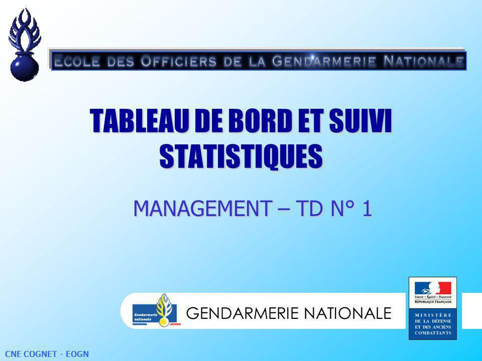 GENDARMERIE NATIONALE CNE COGNET - EOGN TABLEAU DE BORD ET SUIVI STATISTIQUES GENDARMERIE NATIONALE MANAGEMENT – TD N° 1