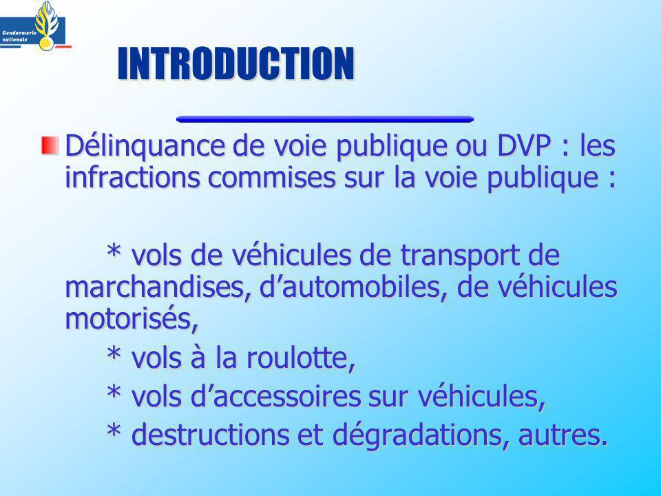 Délinquance de voie publique ou DVP : les infractions commises sur la voie publique : * vols de véhicules de transport de marchandises, dautomobiles,