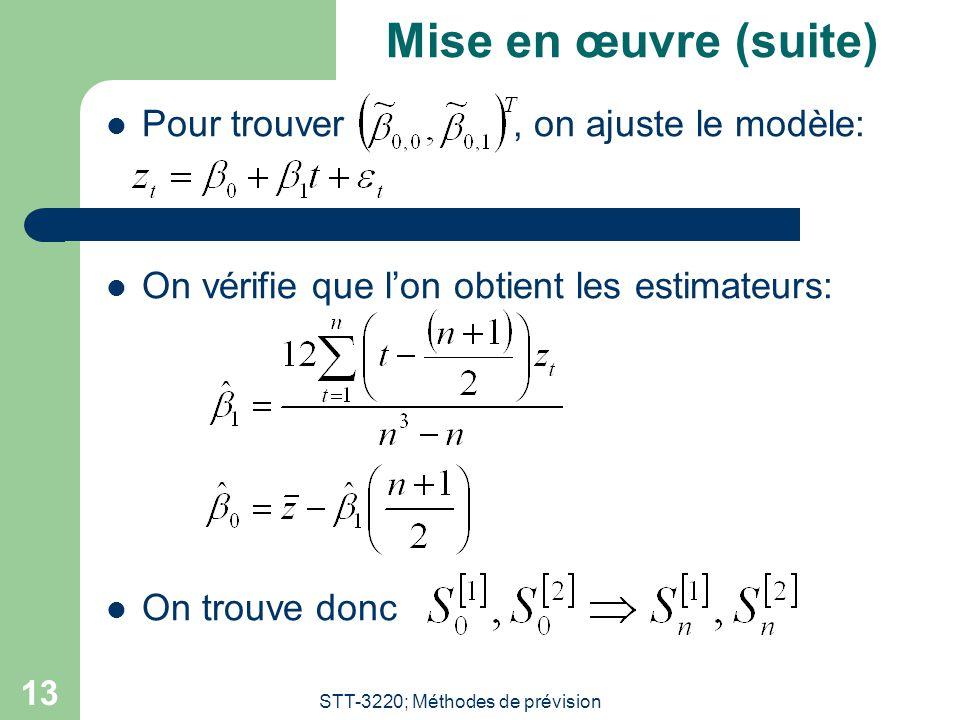 STT-3220; Méthodes de prévision 13 Mise en œuvre (suite) Pour trouver, on ajuste le modèle: On vérifie que lon obtient les estimateurs: On trouve donc