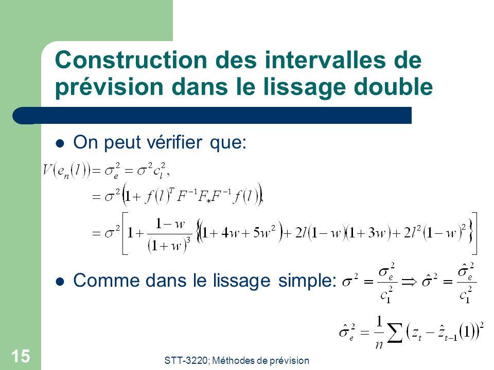 STT-3220; Méthodes de prévision 15 Construction des intervalles de prévision dans le lissage double On peut vérifier que: Comme dans le lissage simple