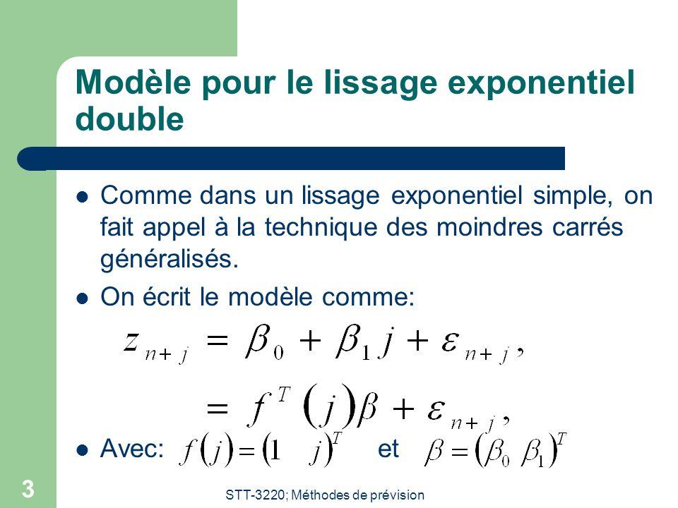 STT-3220; Méthodes de prévision 3 Modèle pour le lissage exponentiel double Comme dans un lissage exponentiel simple, on fait appel à la technique des