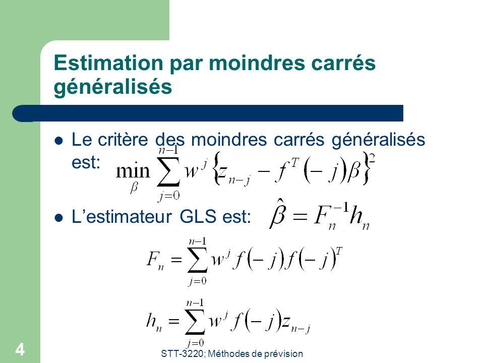 STT-3220; Méthodes de prévision 4 Estimation par moindres carrés généralisés Le critère des moindres carrés généralisés est: Lestimateur GLS est: