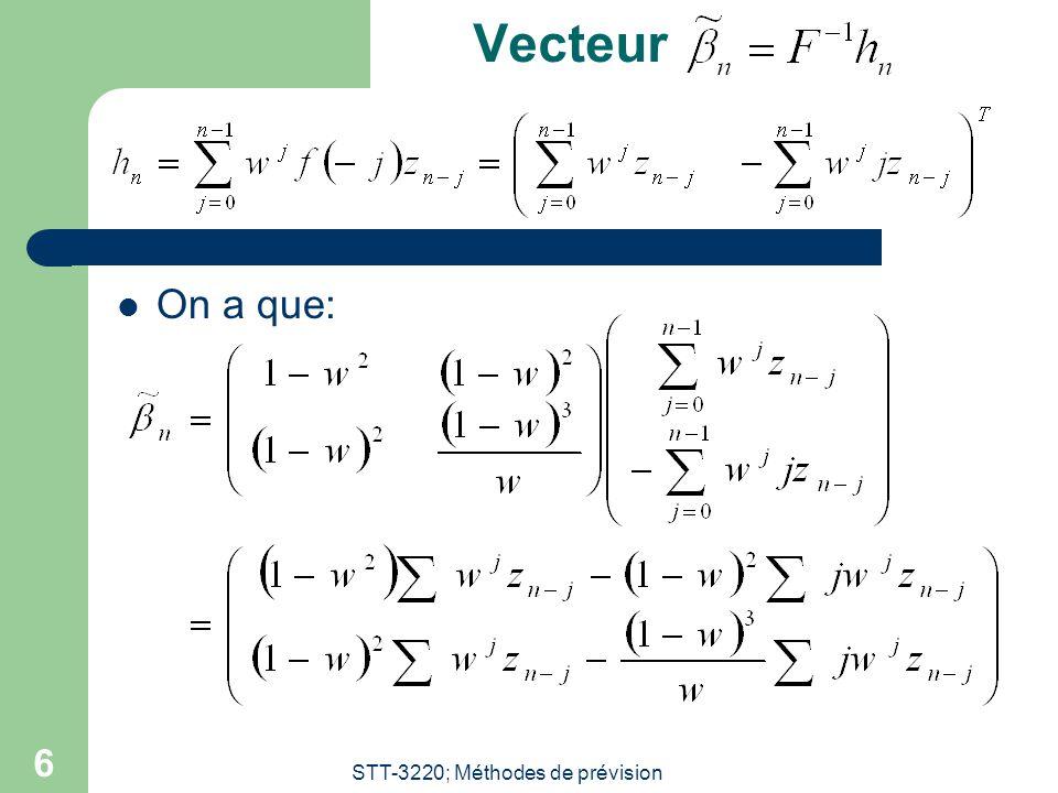 STT-3220; Méthodes de prévision 6 Vecteur On a que: