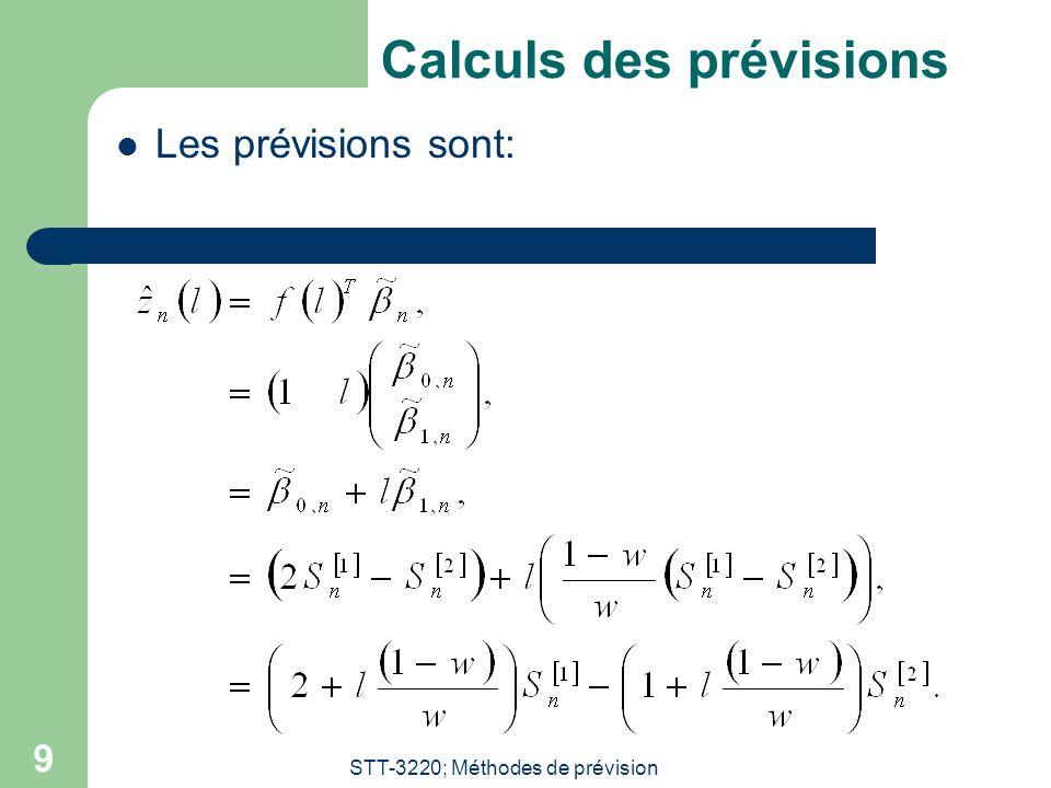STT-3220; Méthodes de prévision 9 Calculs des prévisions Les prévisions sont: