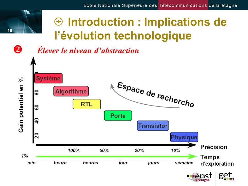 - 10 - Élever le niveau dabstraction Introduction : Implications de lévolution technologique