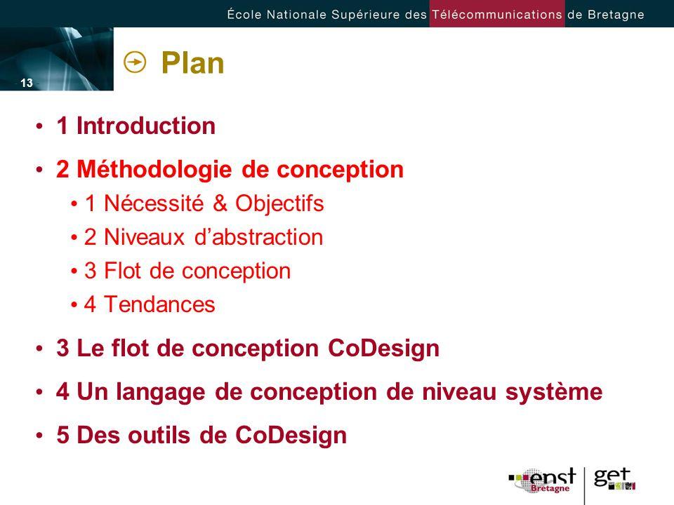 - 13 - Plan 1 Introduction 2 Méthodologie de conception 1 Nécessité & Objectifs 2 Niveaux dabstraction 3 Flot de conception 4 Tendances 3 Le flot de c