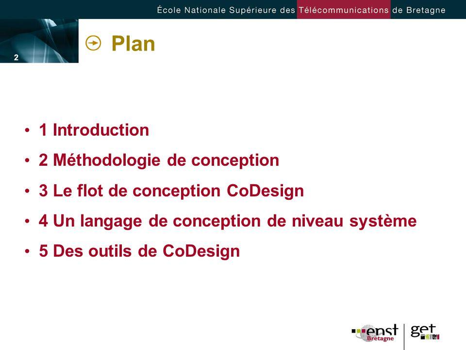 - 2 -- 2 - Plan 1 Introduction 2 Méthodologie de conception 3 Le flot de conception CoDesign 4 Un langage de conception de niveau système 5 Des outils