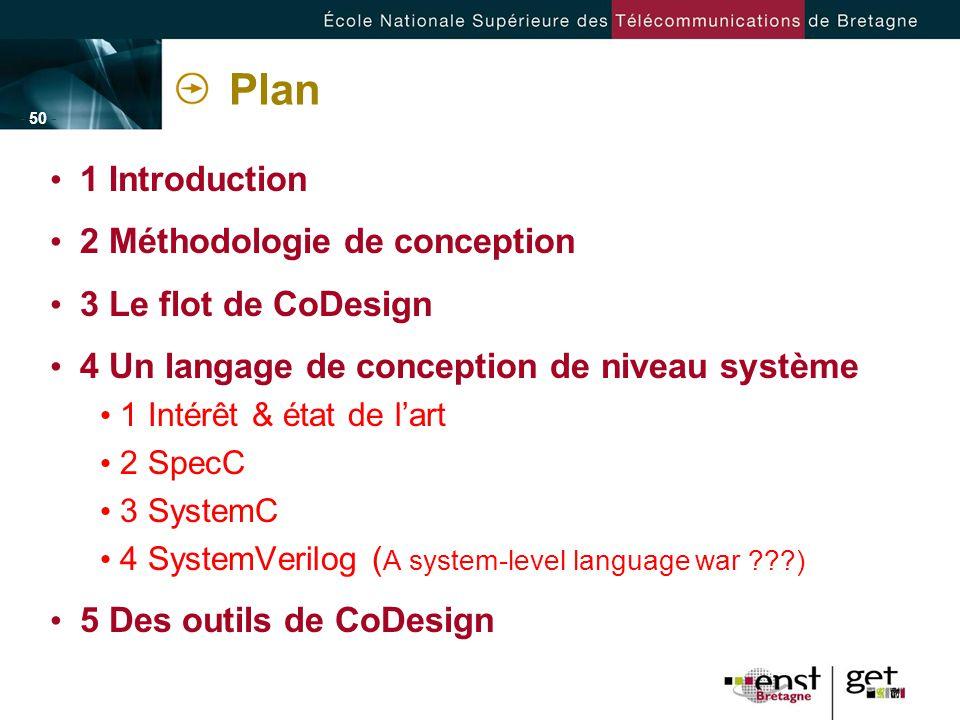 - 50 - Plan 1 Introduction 2 Méthodologie de conception 3 Le flot de CoDesign 4 Un langage de conception de niveau système 1 Intérêt & état de lart 2