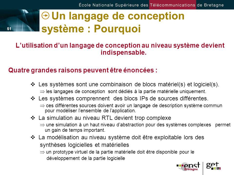 - 51 - Un langage de conception système : Pourquoi Lutilisation dun langage de conception au niveau système devient indispensable. Quatre grandes rais