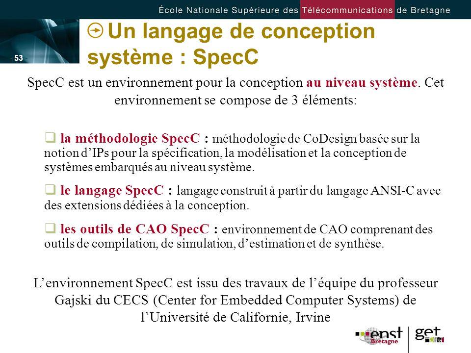 - 53 - Un langage de conception système : SpecC SpecC est un environnement pour la conception au niveau système. Cet environnement se compose de 3 élé