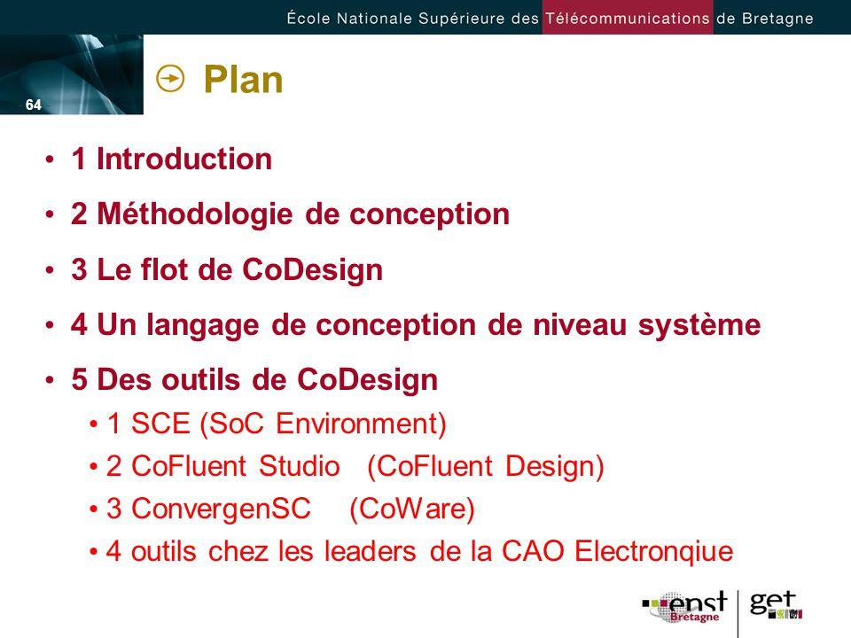 - 64 - Plan 1 Introduction 2 Méthodologie de conception 3 Le flot de CoDesign 4 Un langage de conception de niveau système 5 Des outils de CoDesign 1