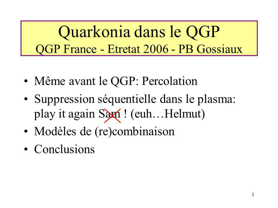 1 Quarkonia dans le QGP QGP France - Etretat 2006 - PB Gossiaux Même avant le QGP: Percolation Suppression séquentielle dans le plasma: play it again