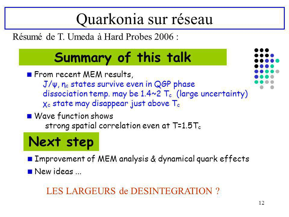 12 Quarkonia sur réseau Résumé de T. Umeda à Hard Probes 2006 : Summary of this talk Next step From recent MEM results, J/ψ, η c states survive even i