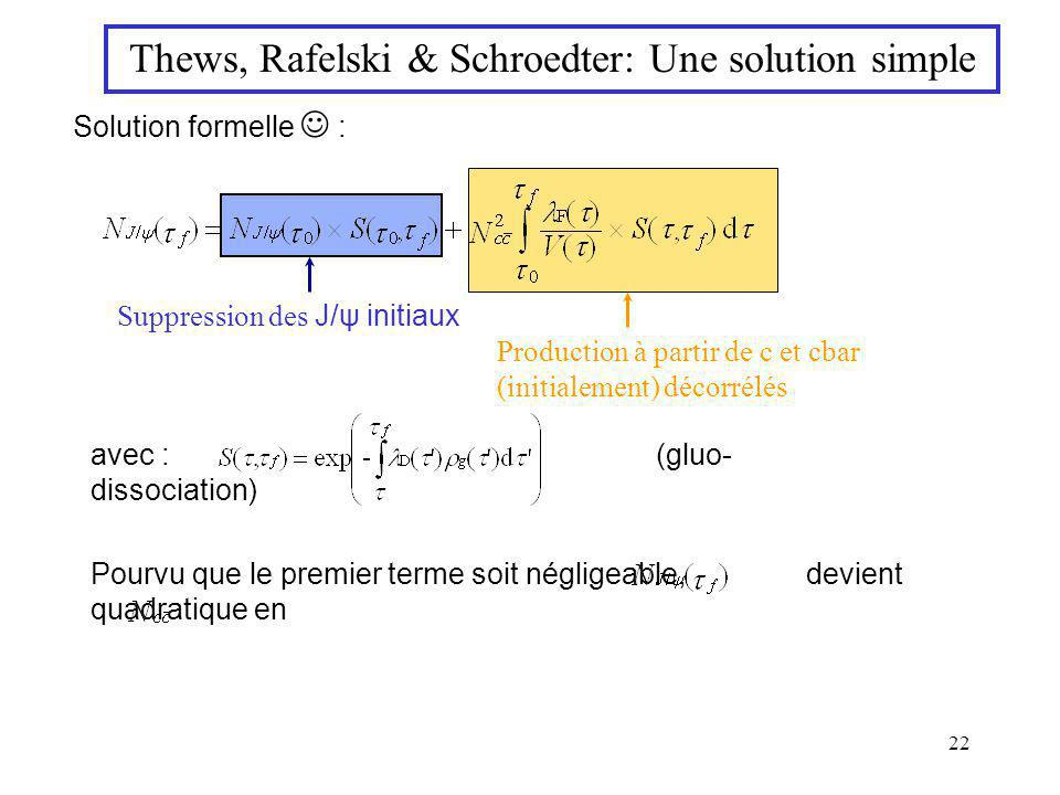 22 Thews, Rafelski & Schroedter: Une solution simple Solution formelle : avec : (gluo- dissociation) Suppression des J/ψ initiaux Production à partir