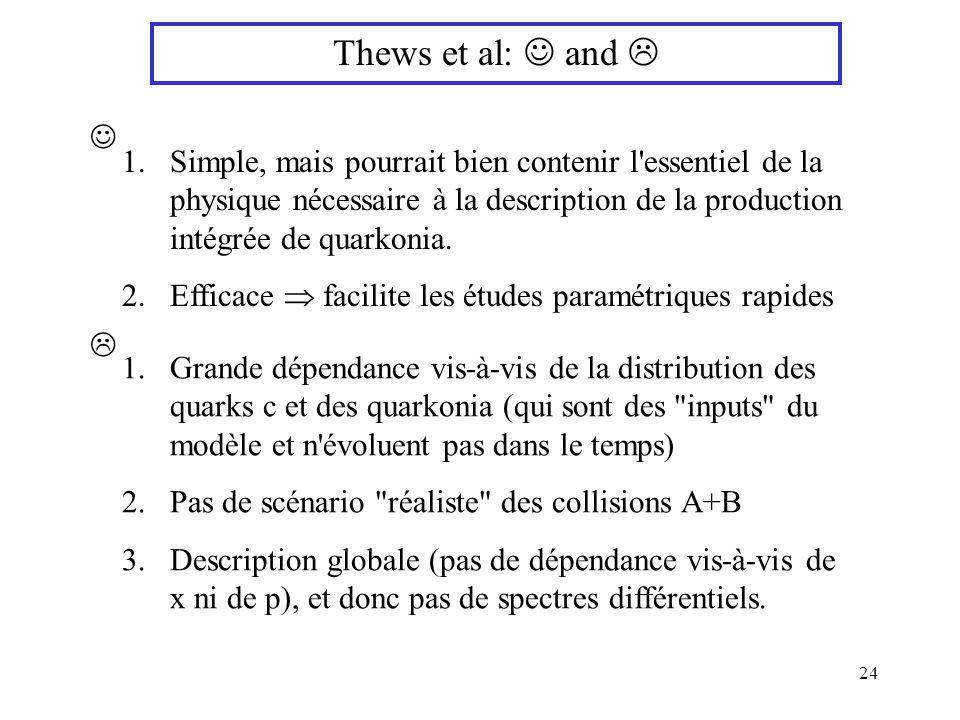 24 Thews et al: and 1.Simple, mais pourrait bien contenir l'essentiel de la physique nécessaire à la description de la production intégrée de quarkoni