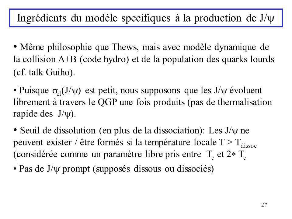 27 Même philosophie que Thews, mais avec modèle dynamique de la collision A+B (code hydro) et de la population des quarks lourds (cf. talk Guiho). Pui