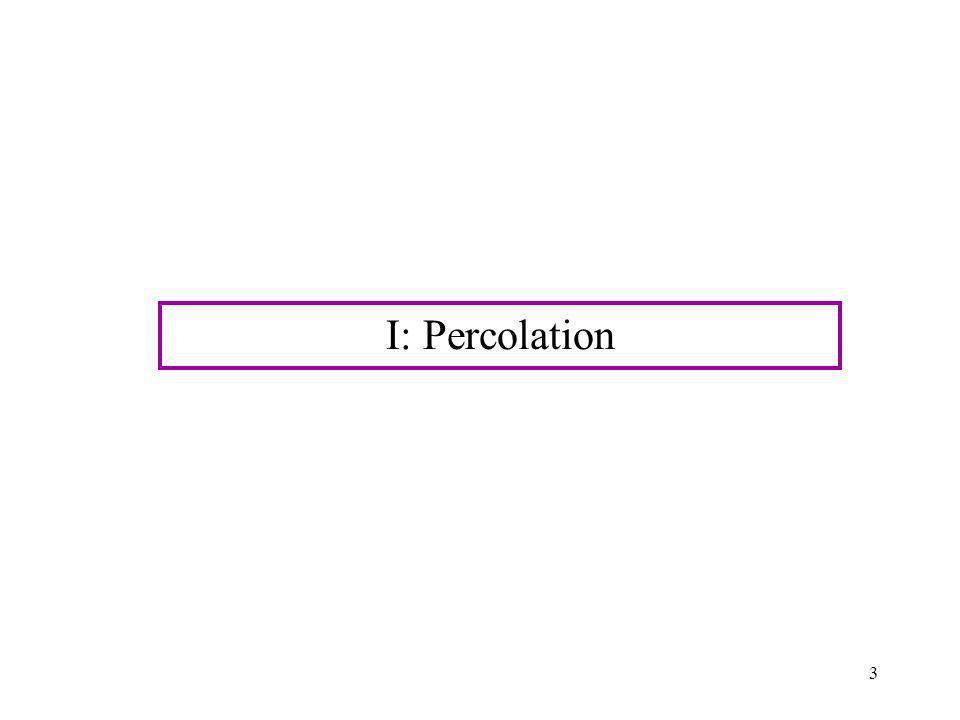 3 I: Percolation