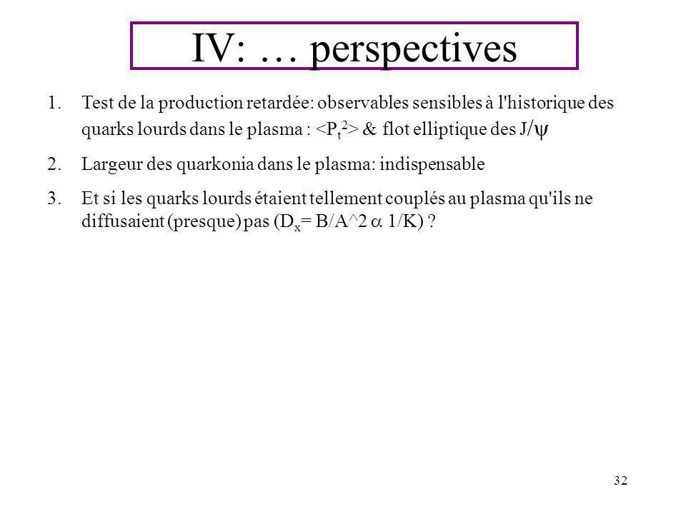 32 1.Test de la production retardée: observables sensibles à l'historique des quarks lourds dans le plasma : & flot elliptique des J / 2.Largeur des q