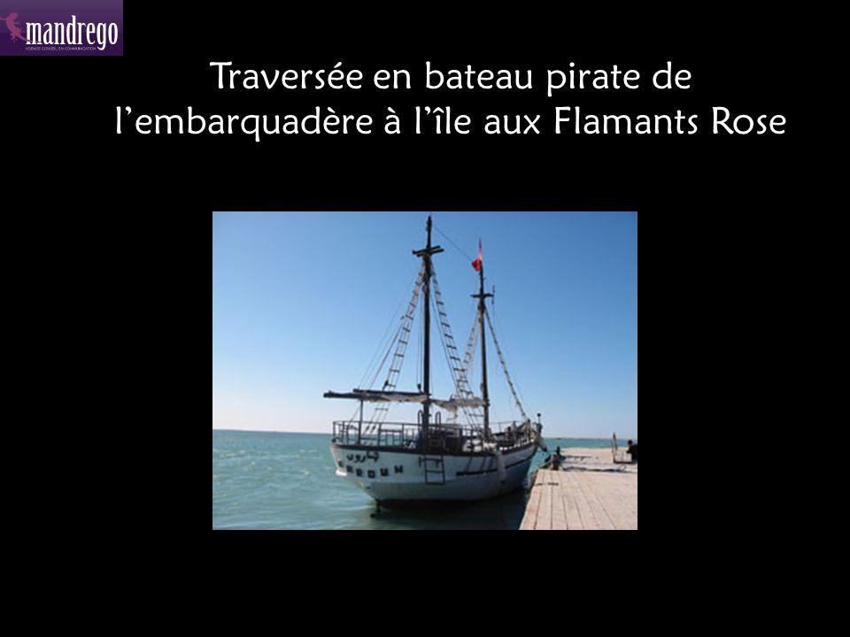 Traversée en bateau pirate de lembarquadère à lîle aux Flamants Rose