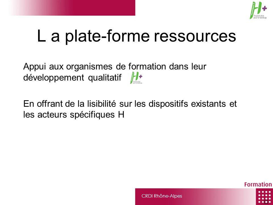 CRDI Rhône-Alpes L a plate-forme ressources Appui aux organismes de formation dans leur développement qualitatif En offrant de la lisibilité sur les d