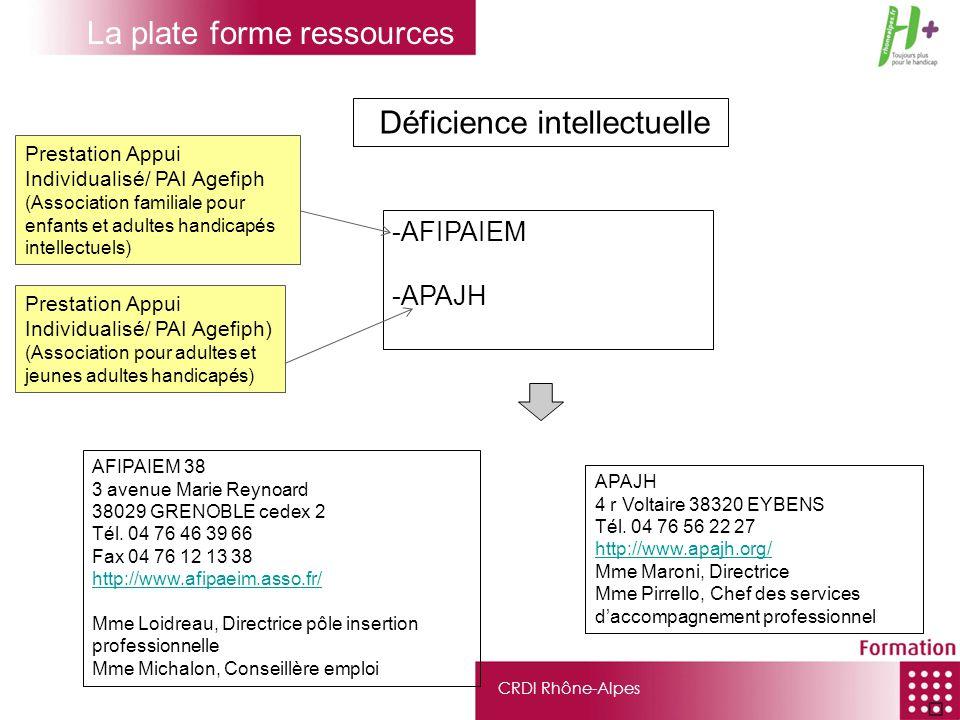 CRDI Rhône-Alpes Déficience intellectuelle -AFIPAIEM -APAJH Prestation Appui Individualisé/ PAI Agefiph) (Association pour adultes et jeunes adultes h