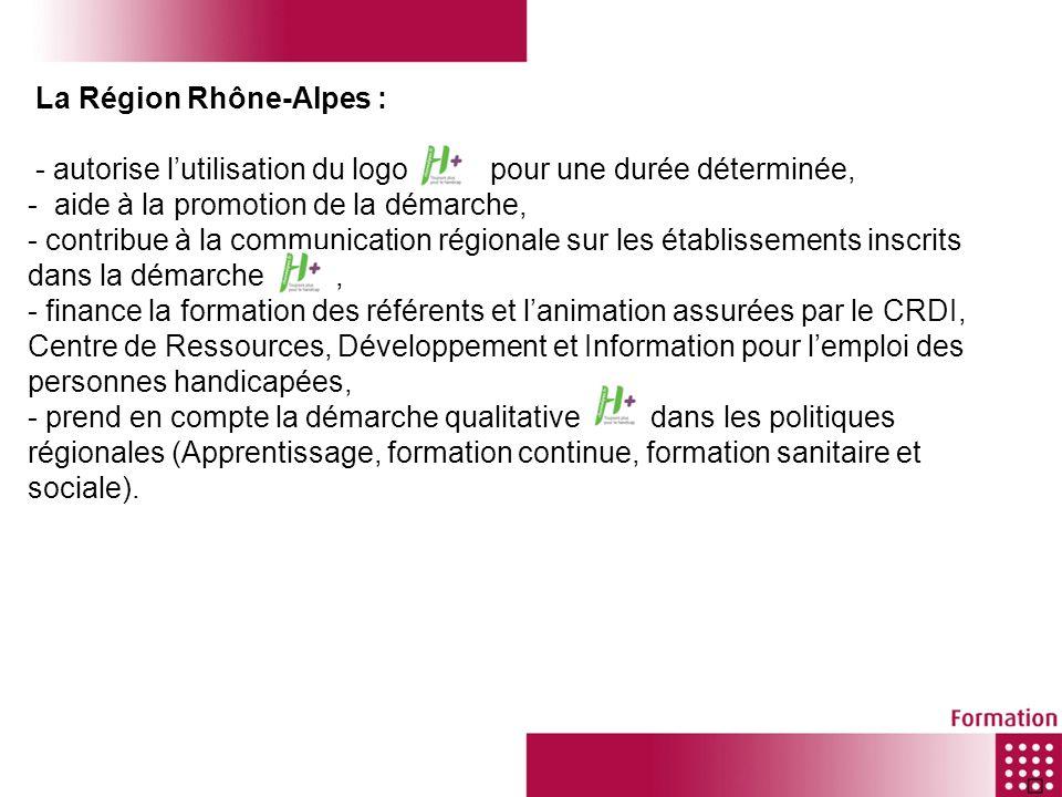 La Région Rhône-Alpes : - autorise lutilisation du logo pour une durée déterminée, - aide à la promotion de la démarche, - contribue à la communicatio