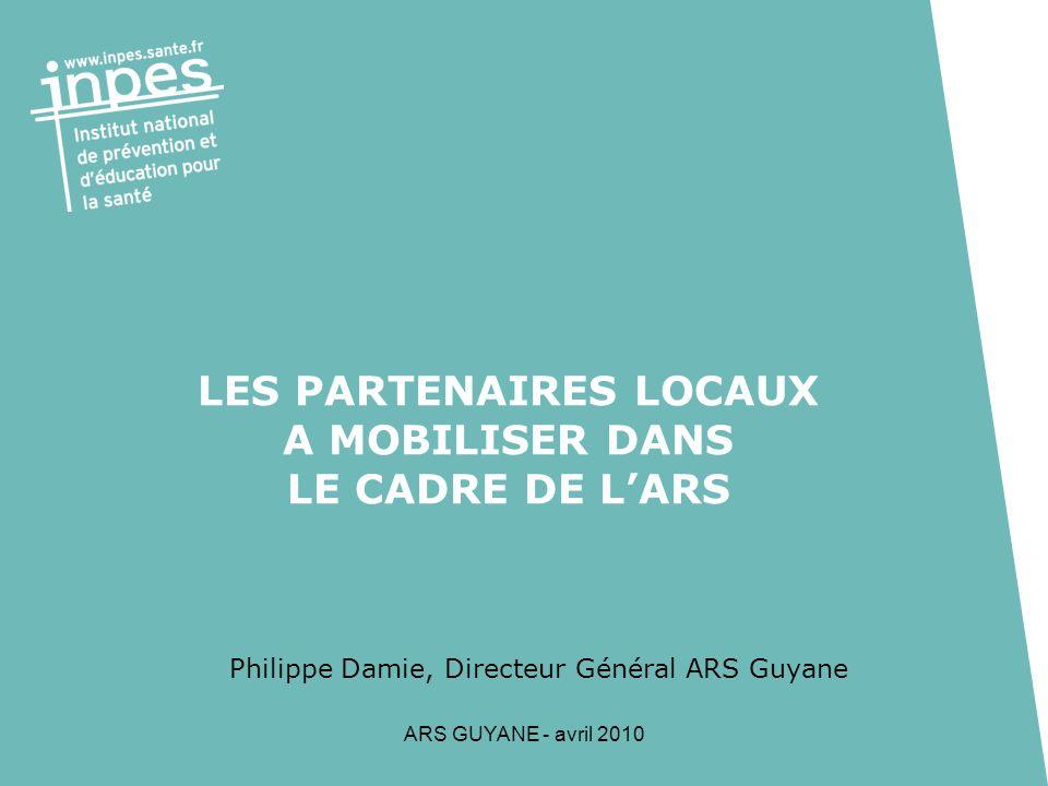 ARS GUYANE - avril 2010 2 Les ateliers Santé Ville 3 ASV Kourou, St Laurent, Cayenne +2 créations ou relances (Rémire et Matoury : diagnostic en cours) avec une coordination départementale