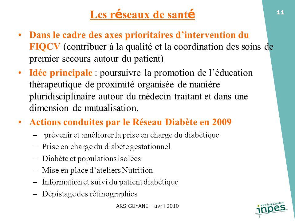 ARS GUYANE - avril 2010 11 Les r é seaux de sant é Dans le cadre des axes prioritaires dintervention du FIQCV (contribuer à la qualité et la coordinat